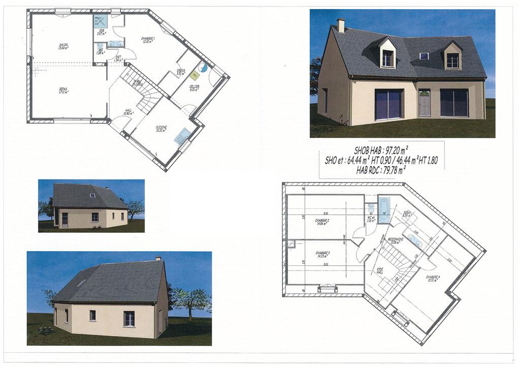 plan maison v avec etage